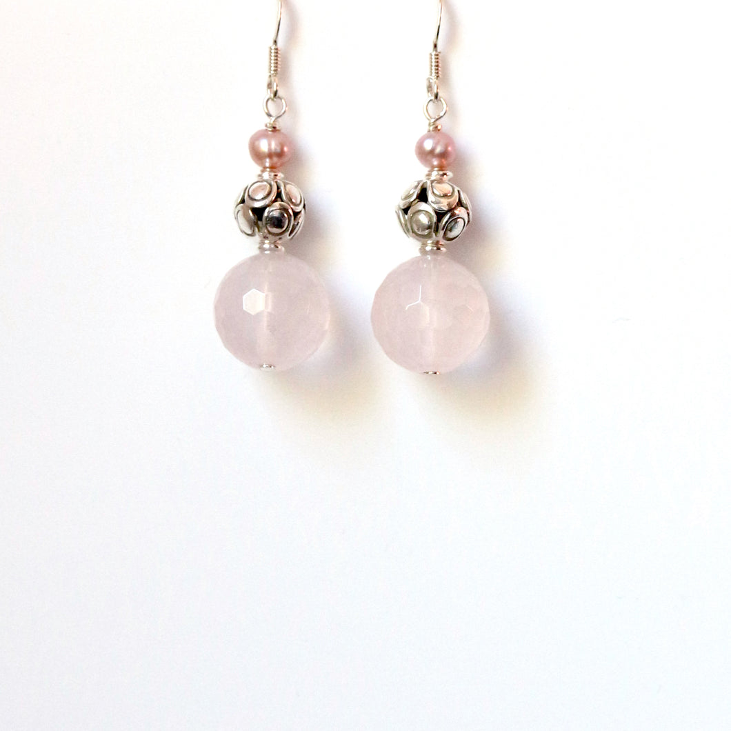 Pink Rose Quartz Bead Sterling Silver and Pink Pearl Earrings