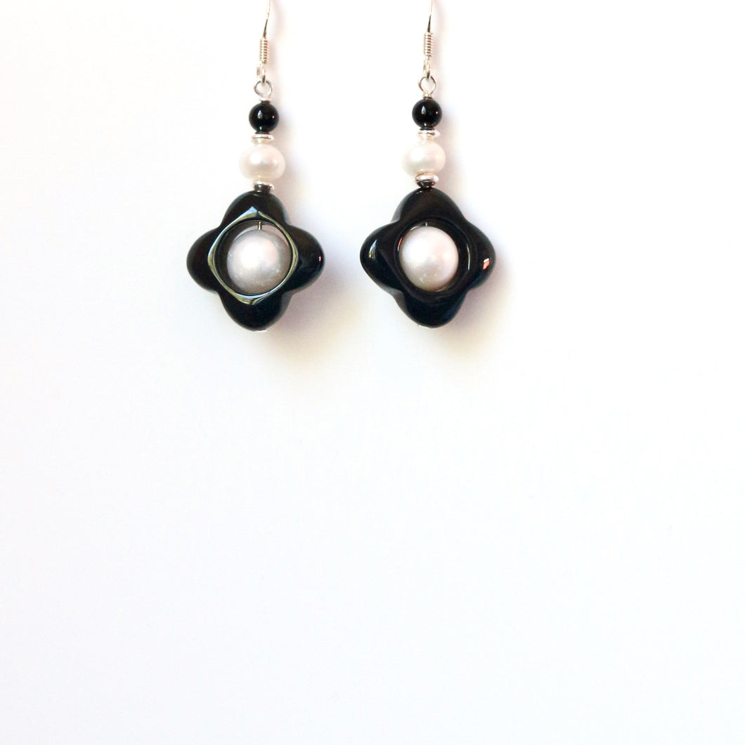 Black Onyx Flower Shape with Pearls and Sterling Silver Earrings