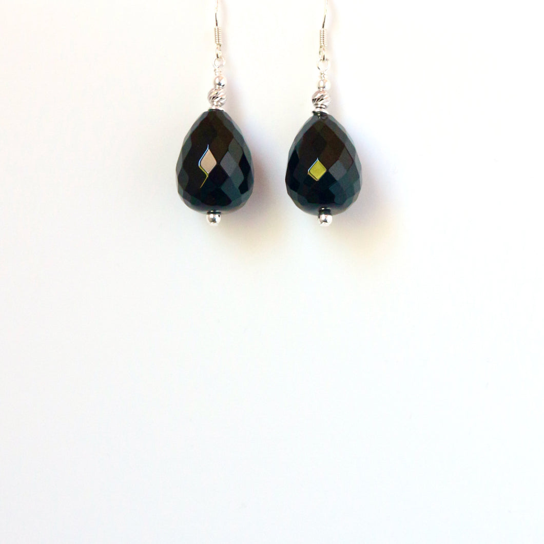 Black Facetted Teardrop Onyx and Sterling Silver