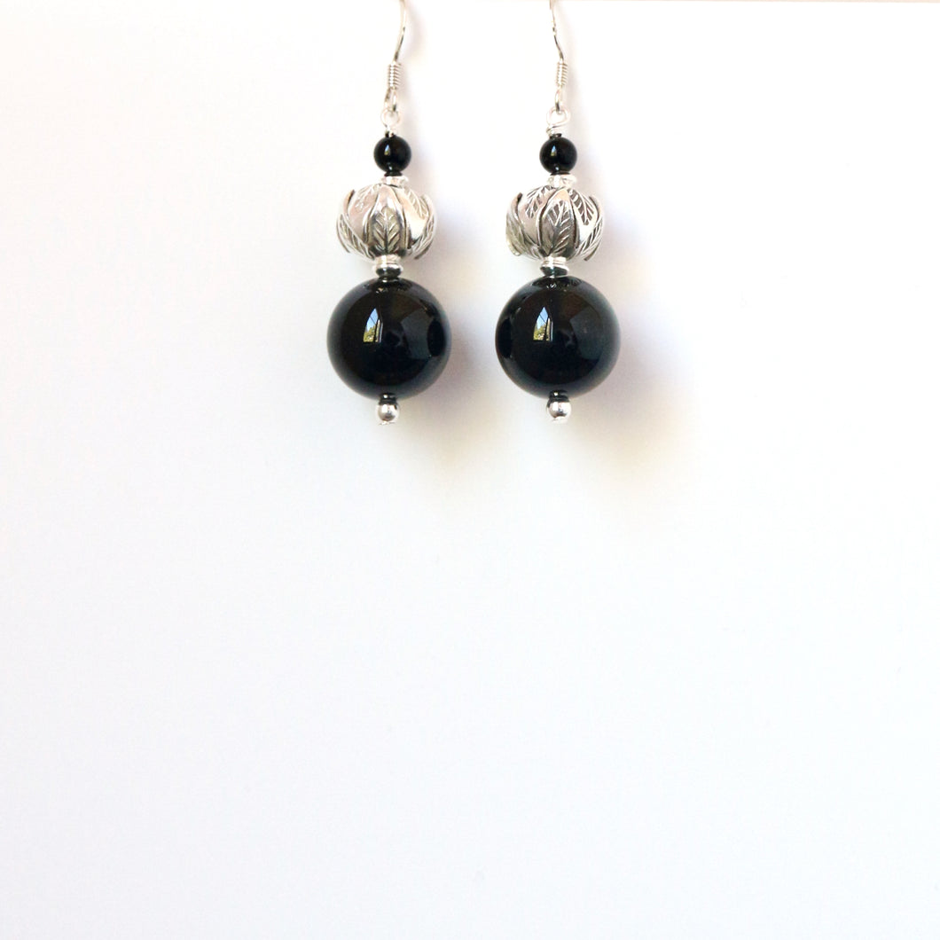 Black Polished Onyx with Sterling Silver Earrings