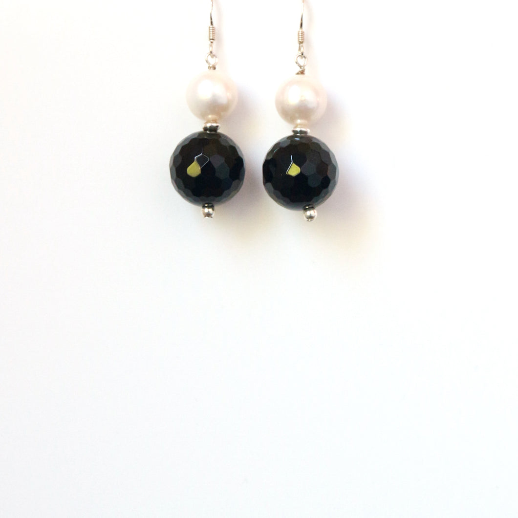 Black Facetted Onyx with Pearl Earrings