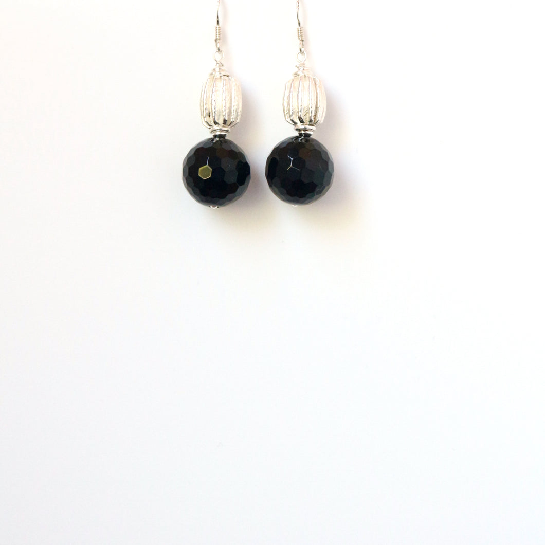 Black Facetted Onyx and Decorative Sterling Silver Bead