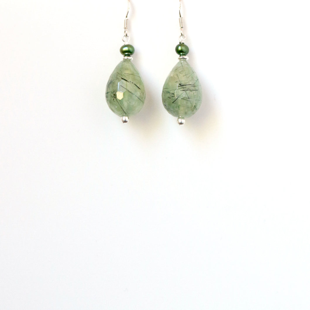 Green Phrenite with Pearl and Sterling Silver Earrings