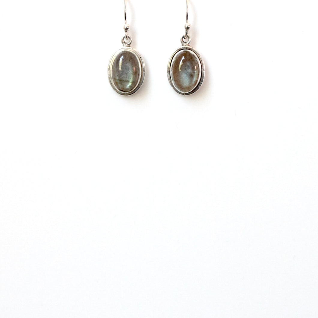 Green Labradorite and Sterling Silver Earrings