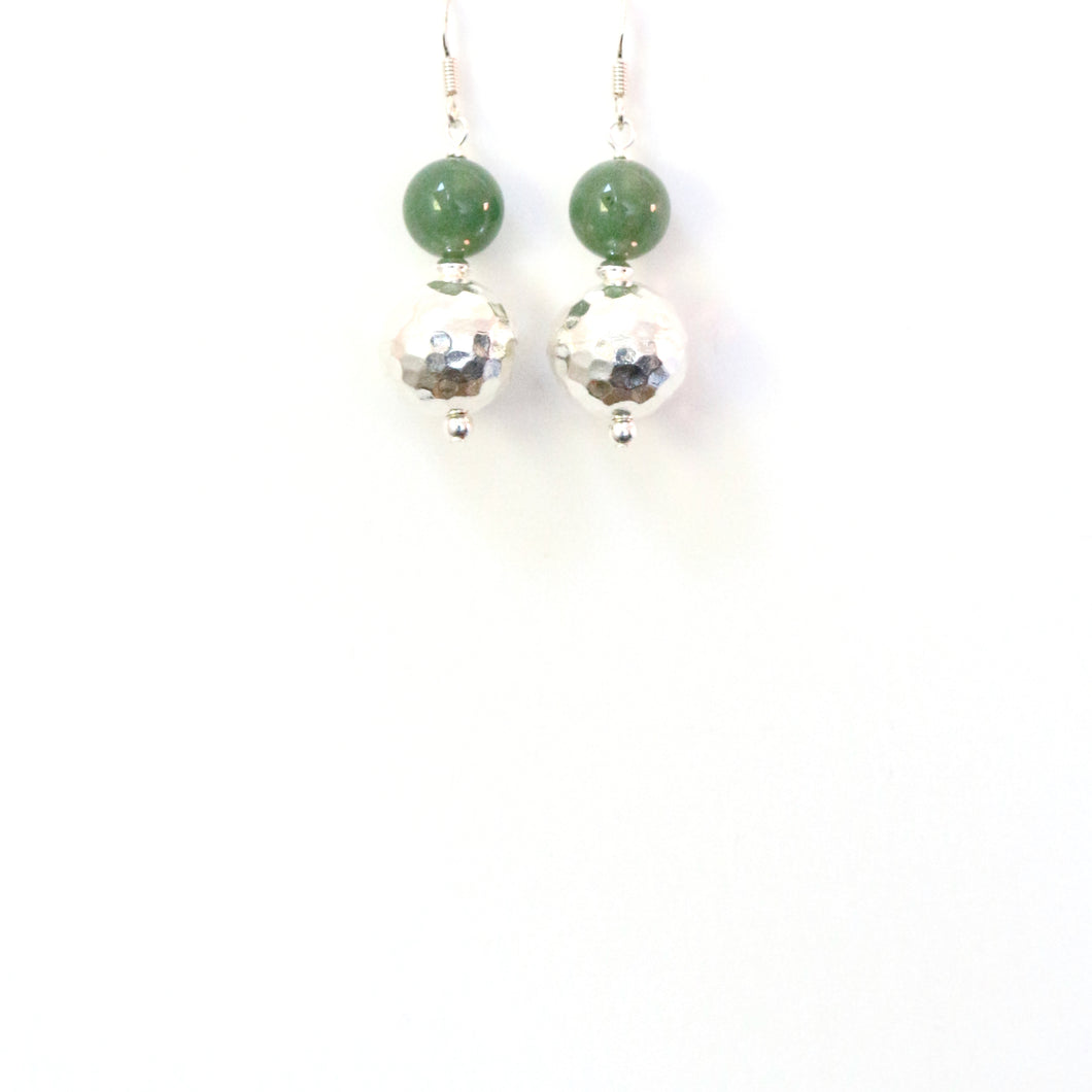 Green Aventurine with Sterling Silver Earrings