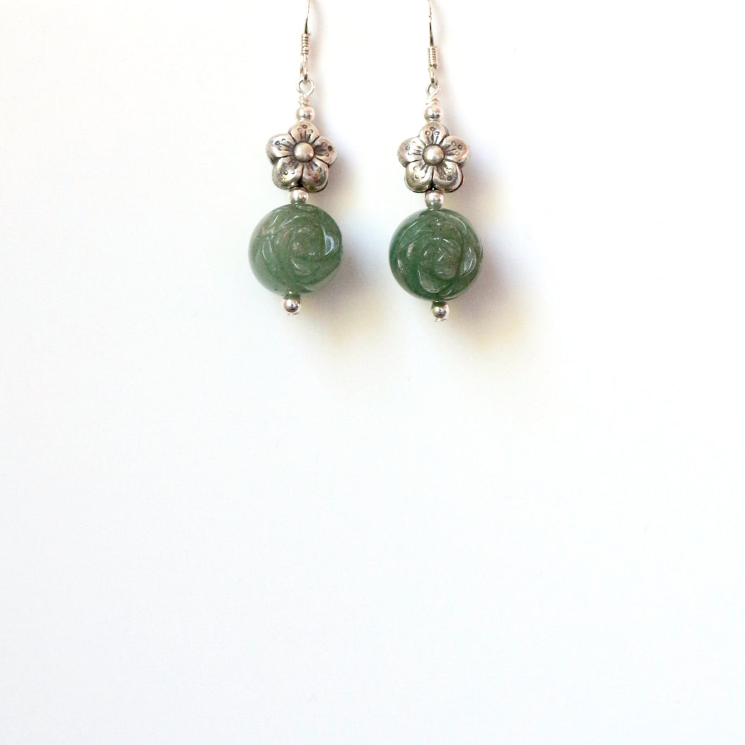 Green Carved Aventurine and Sterling Silver Earrings