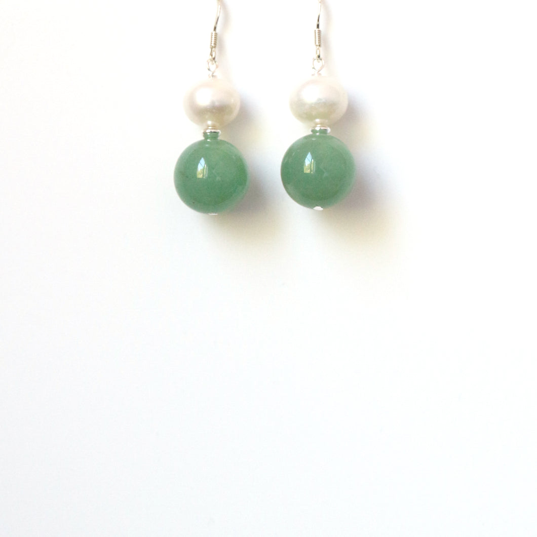 Green Aventurine Pearl and Sterling Silver Earrings
