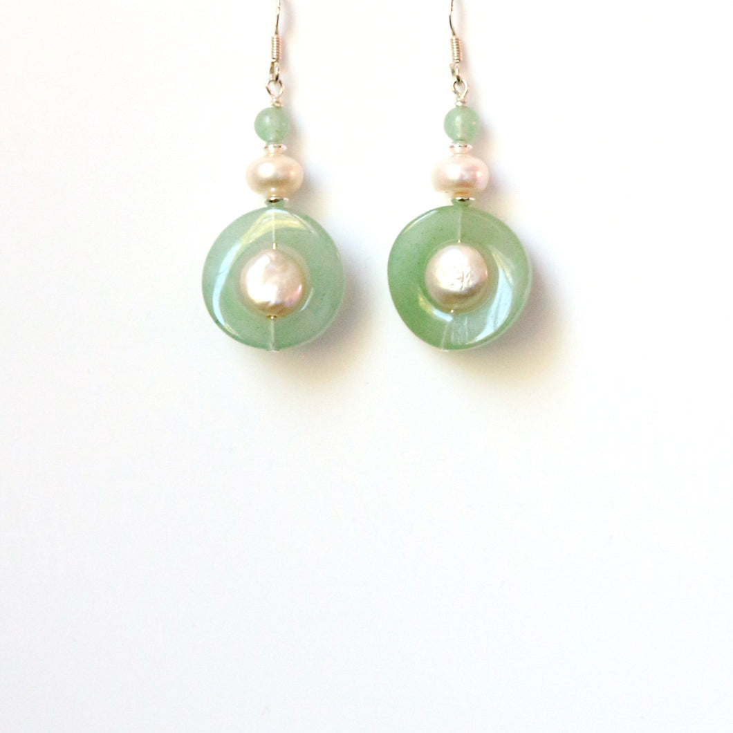 Green Aventurine Twisted Shape Pearl and Sterling Silver Earrings