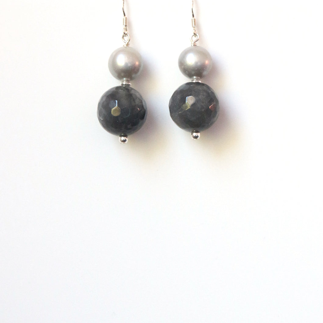 Grey Rutile Quartz Pearl and Sterling Silver Earrings