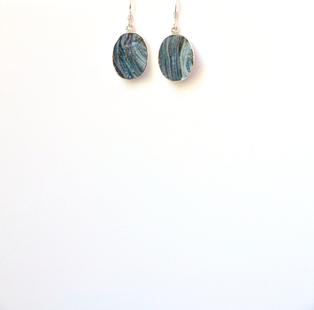 Grey Desert Druzy Oval set in Sterling Silver Earrings