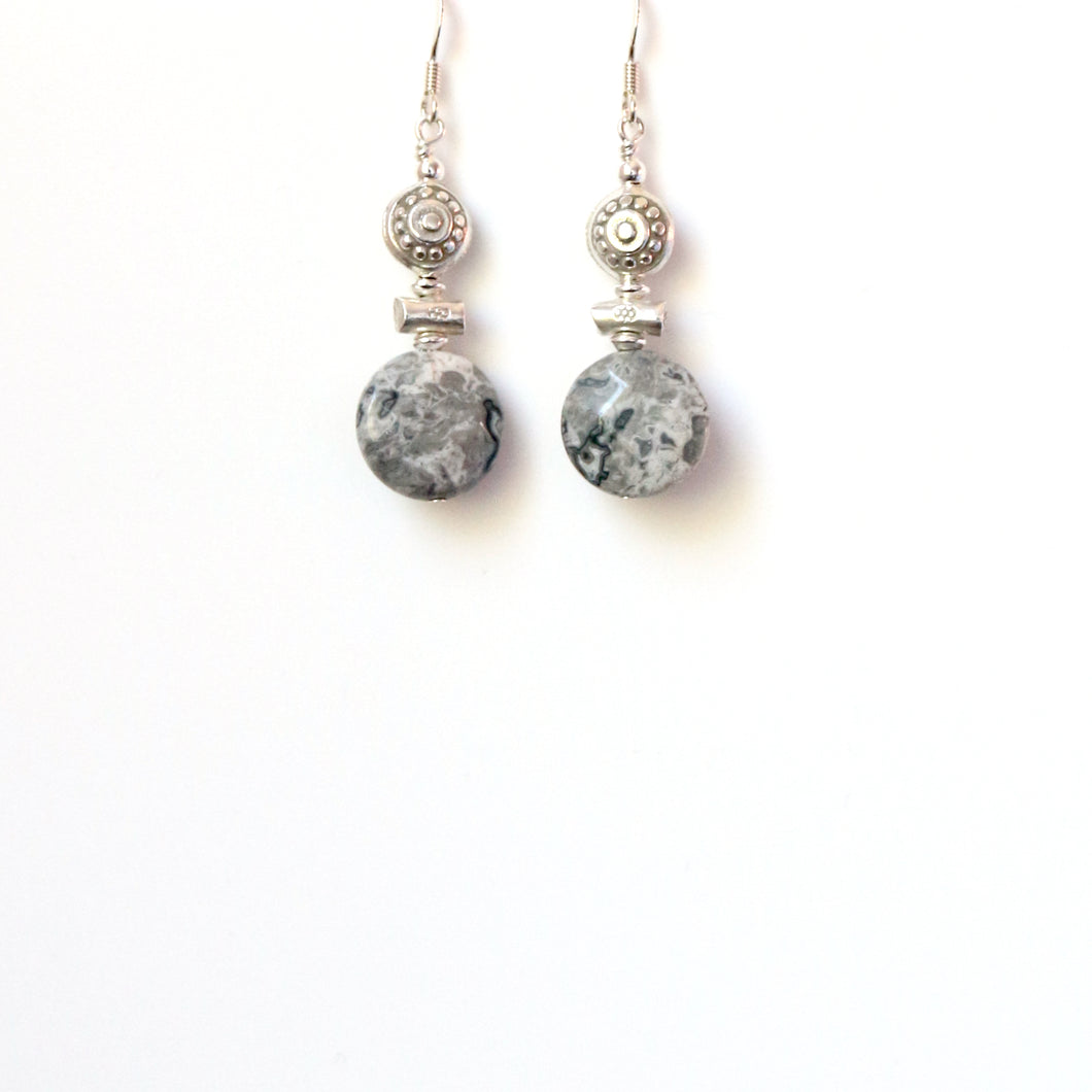 Grey Lace Agate and Sterling Silver Bead Earrings