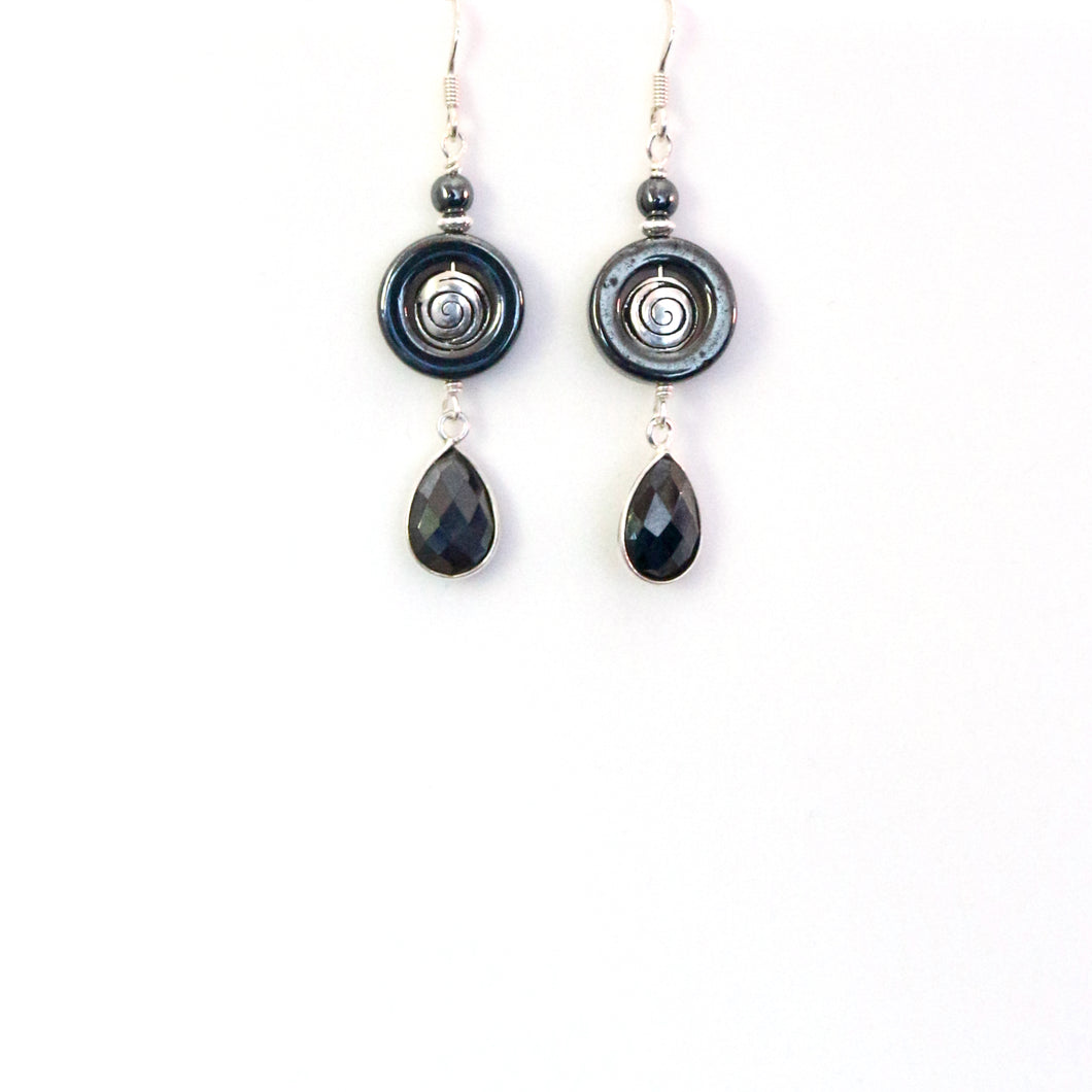 Grey Hematite and Sterling Silver Earrings