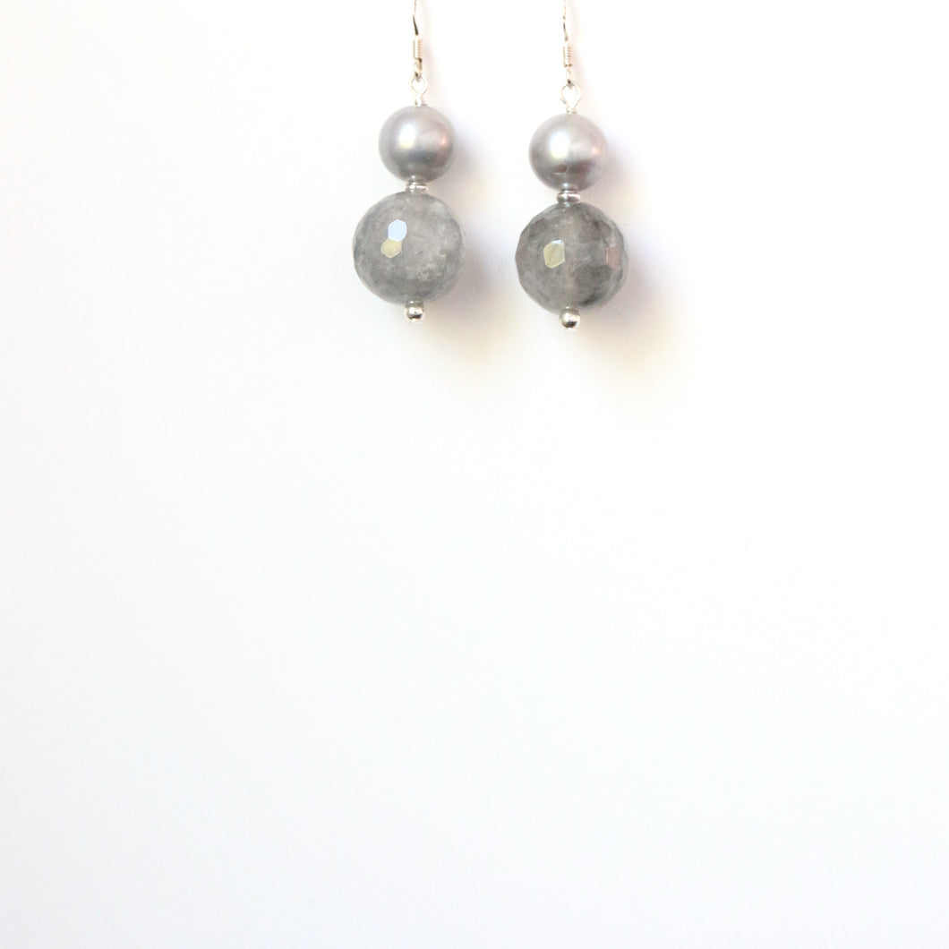 Grey Facetted Rutile Quartz and Pearl Earrings