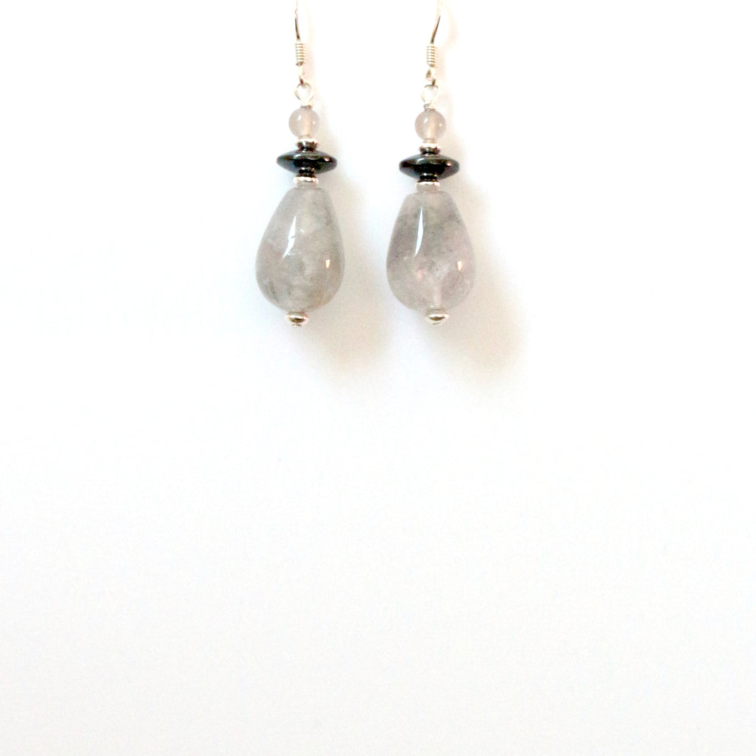 Grey Polished Rutile Quartz Hematite Agate and Sterling Silver Earrings