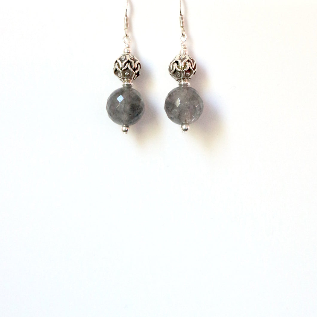 Grey Facetted Small Rutile Quartz Earrings