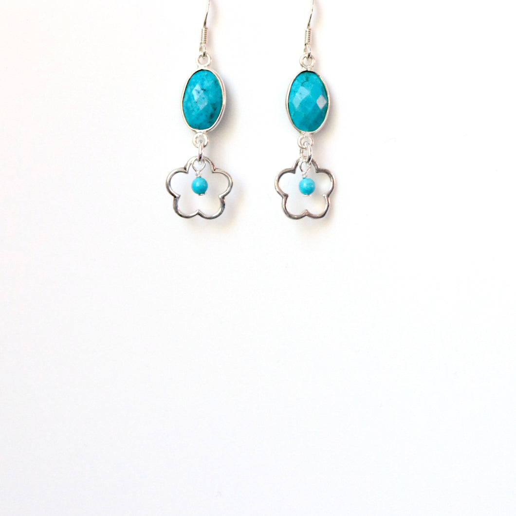 Turquoise(Chinese) with Sterling Silver Flower Earrings