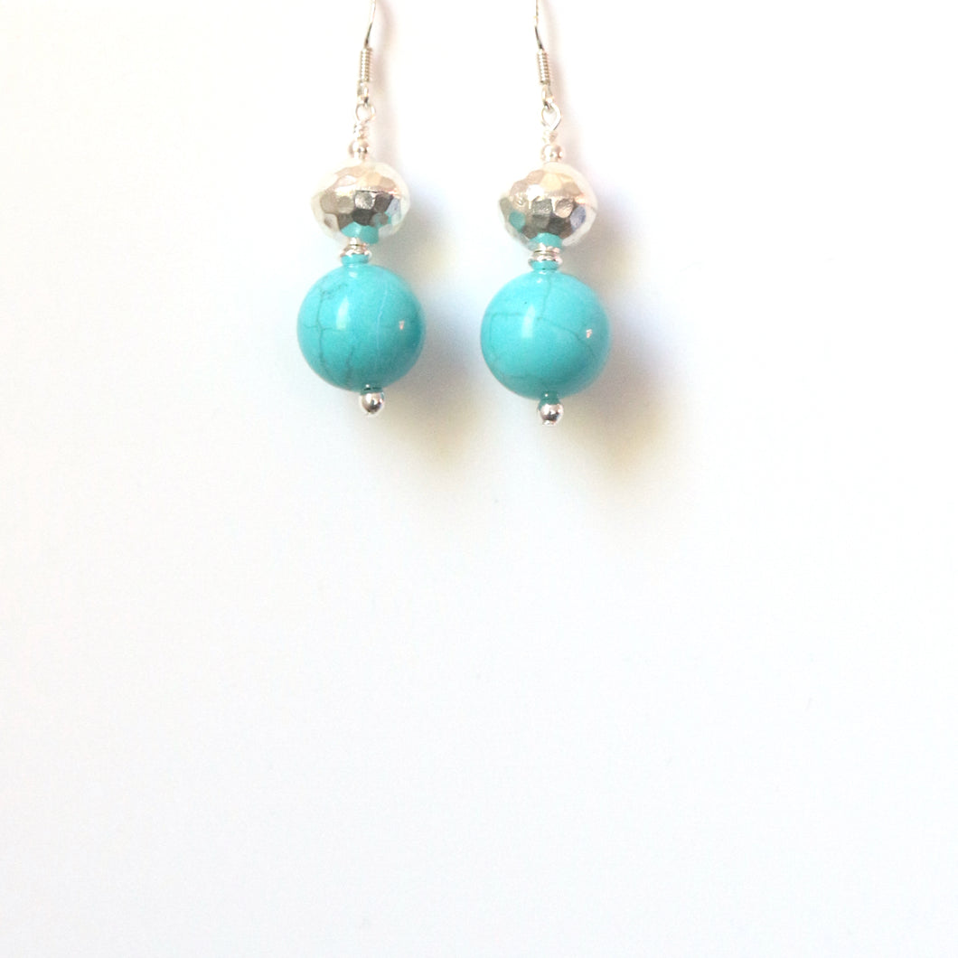 Turquoise Colour Howlite with Sterling Silver Bead Earrings