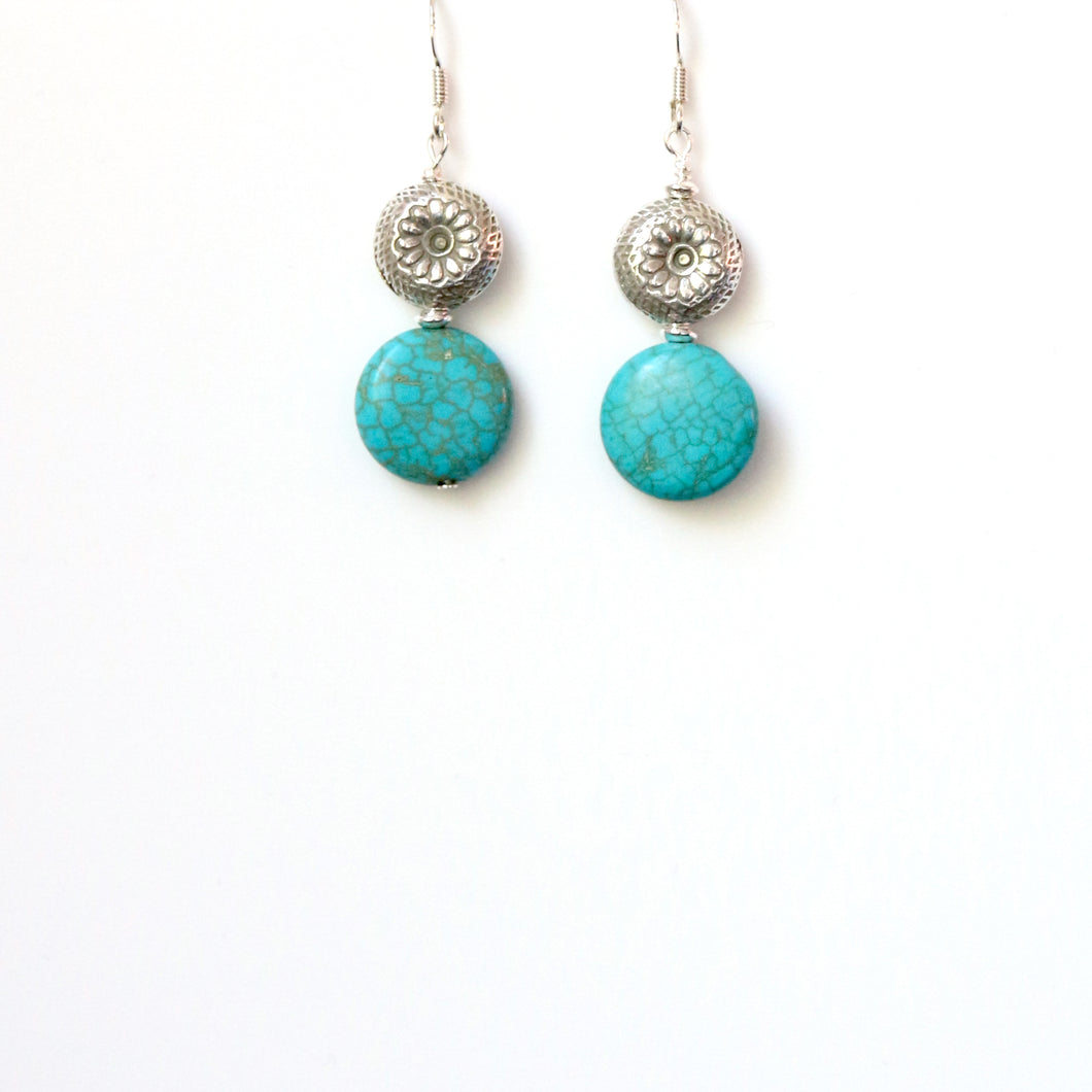 Turquoise Colour Howlite Coin Shape and Sterling Silver Earrings