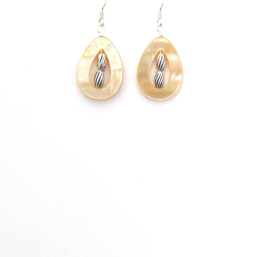 Yellow Mother of Pearl Teardrop and Sterling Silver Earrings