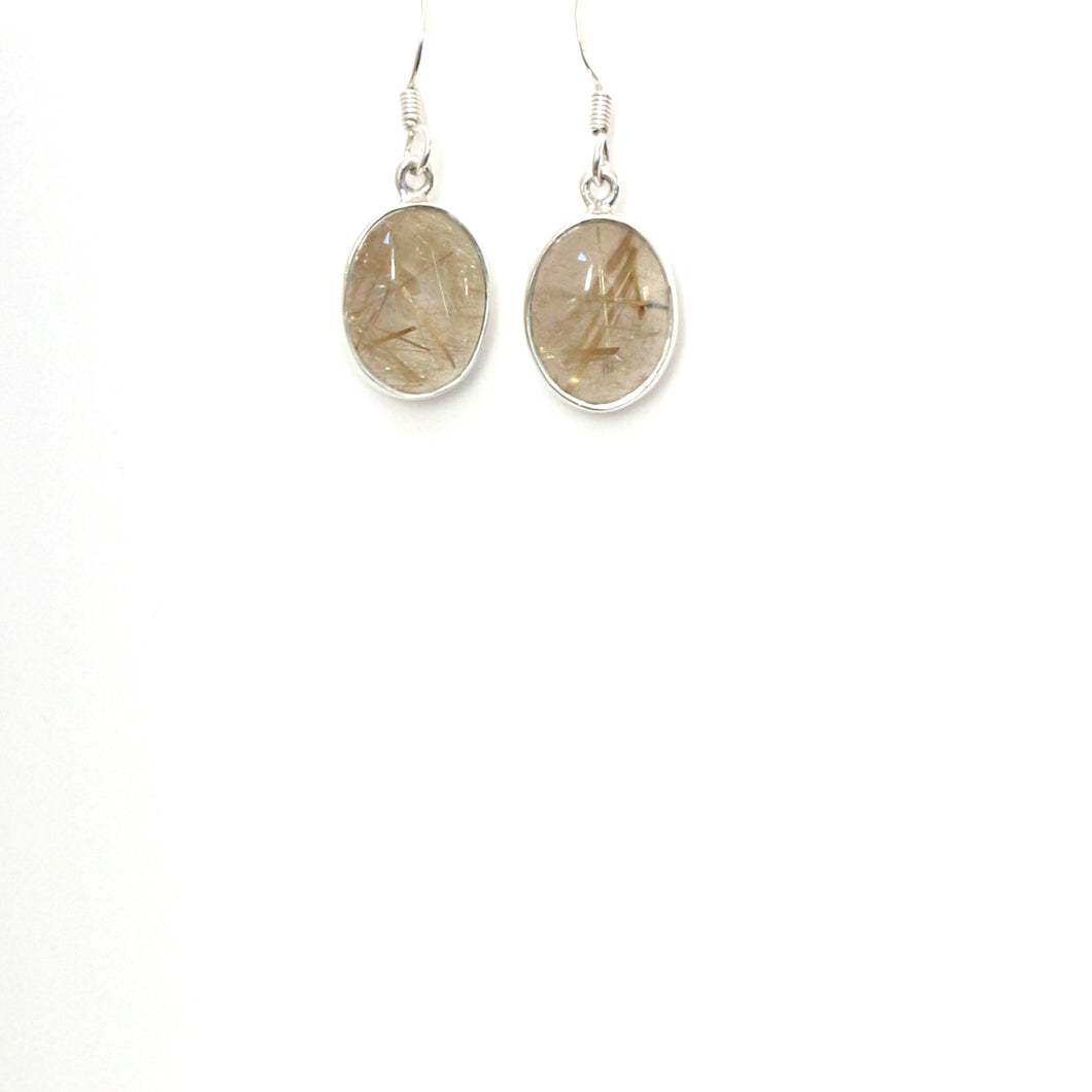 Yellow Gold Oval Rutile Quartz and Sterling Silver Earrings