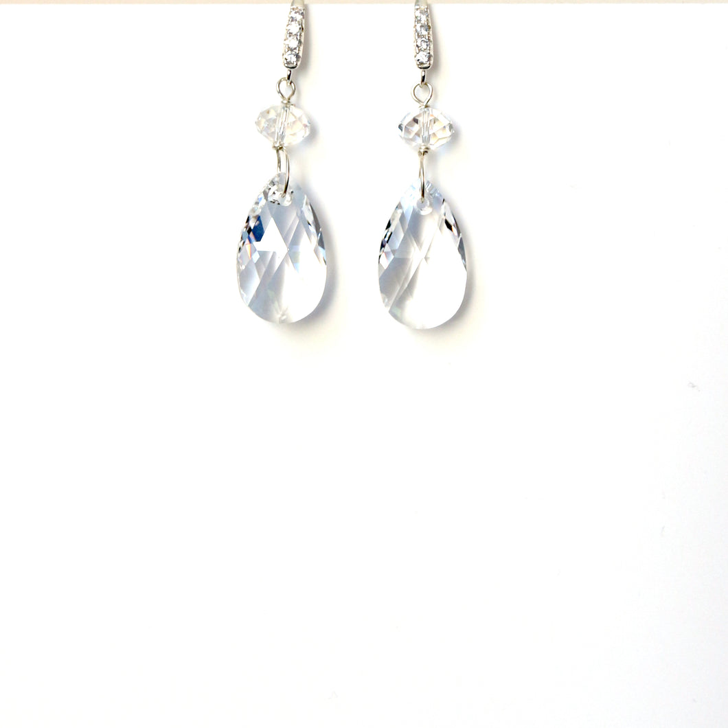 Clear Swarovski Crystal Earrings with Cubic Zirconia Hook