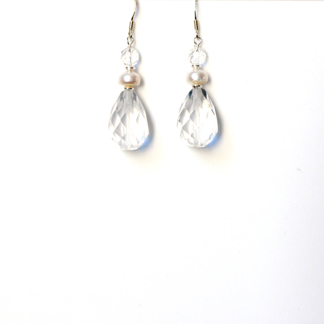 Clear Quartz with Pearl and Sterling Silver Earrings