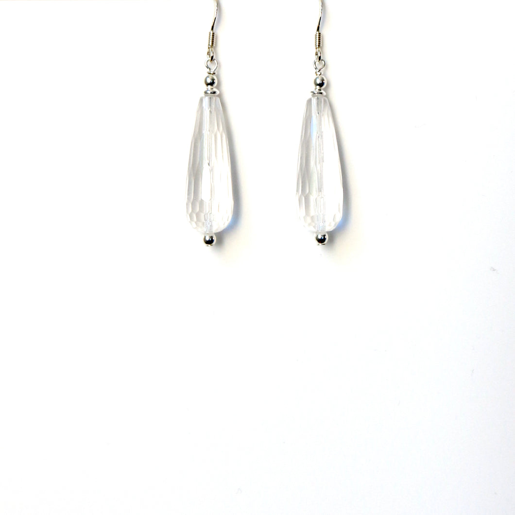 Clear Quartz Facetted Teardrop and Sterling Silver Earrings