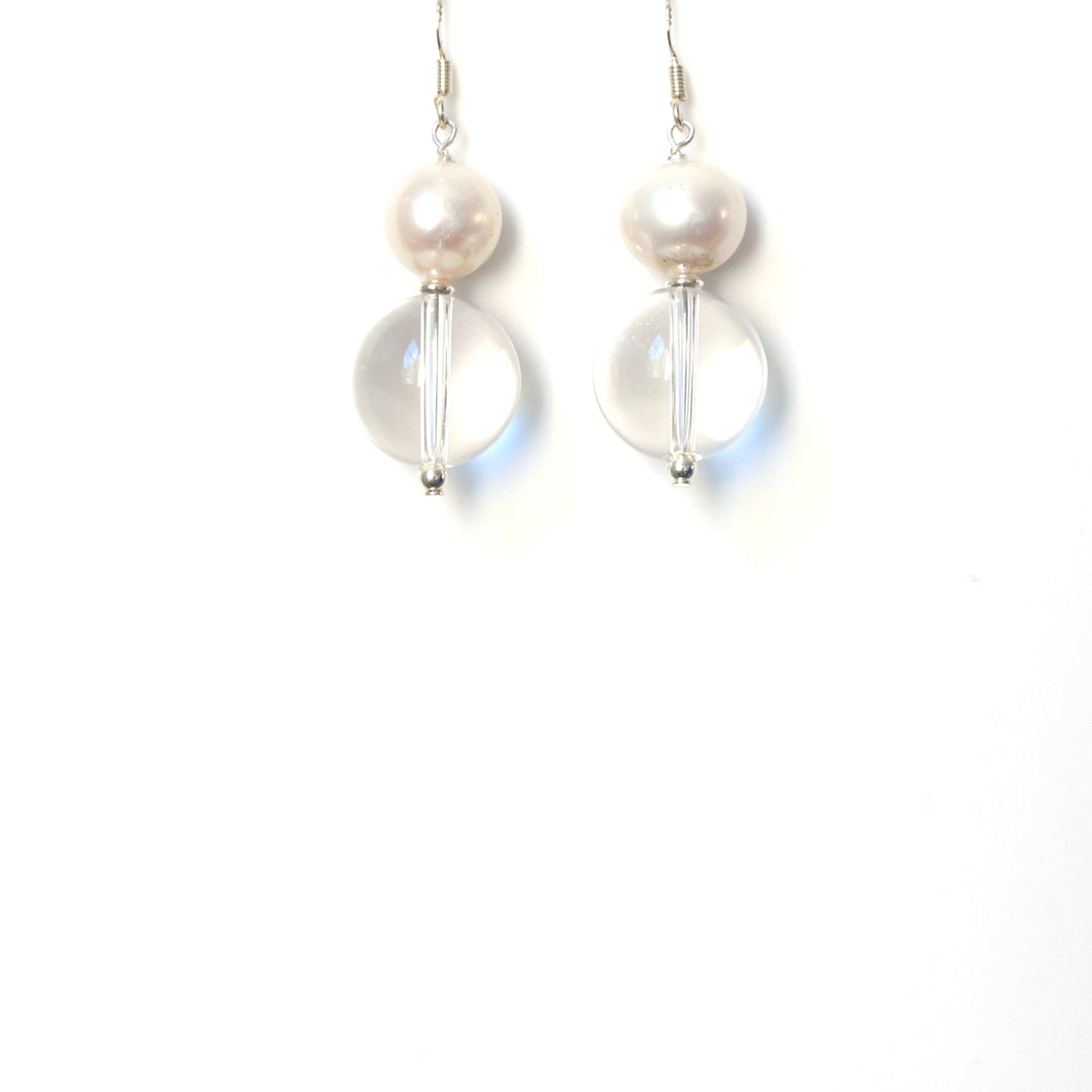 Clear Quartz Polished Pearl and Sterling Silver Earrings