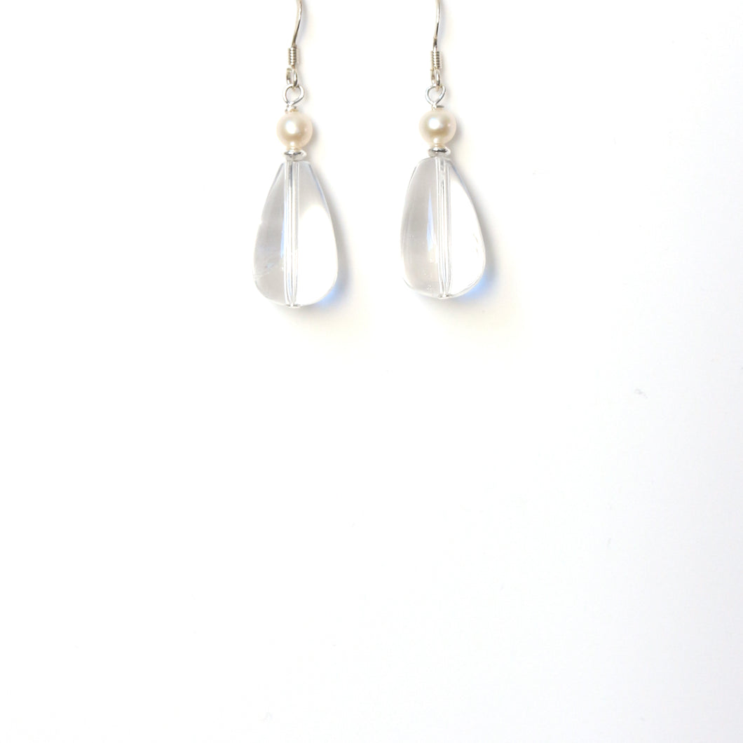 Clear Teardrop Quartz Pearl and Sterling Silver Earrings