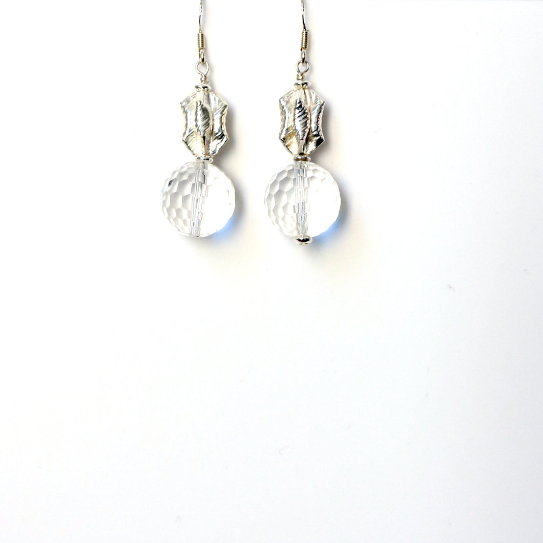 Clear Facetted Round Quartz and Sterling Silver Bead Earrings