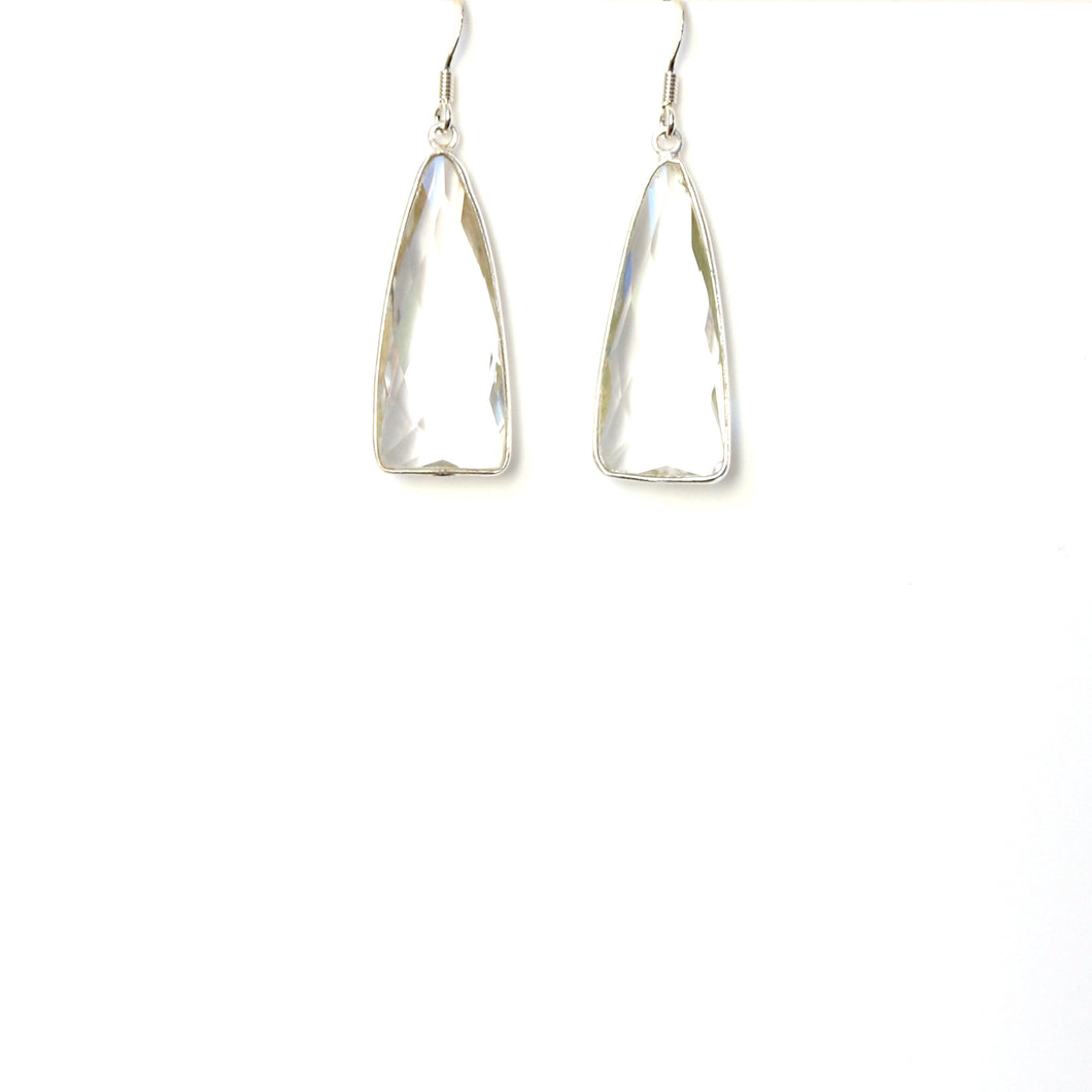 Clear Facetted Quartz set in Sterling Silver Earrings