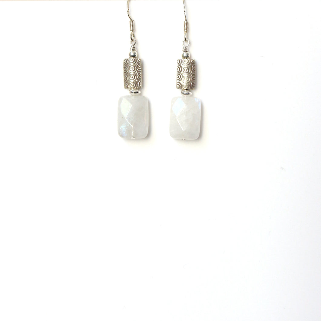 White Moonstone with Decorative Sterling Silver Bead Earrings