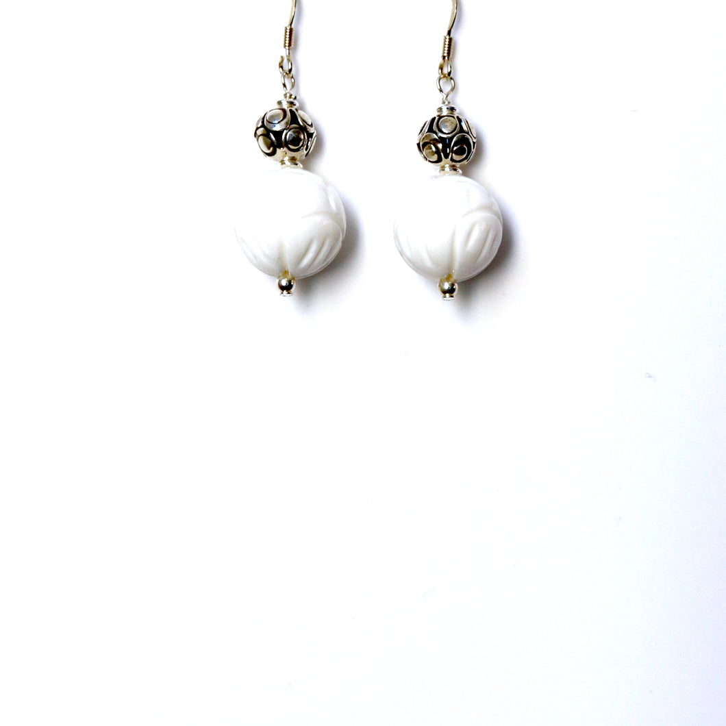 White Giant Clamshell with Decorative Sterling Silver Bead Earrings