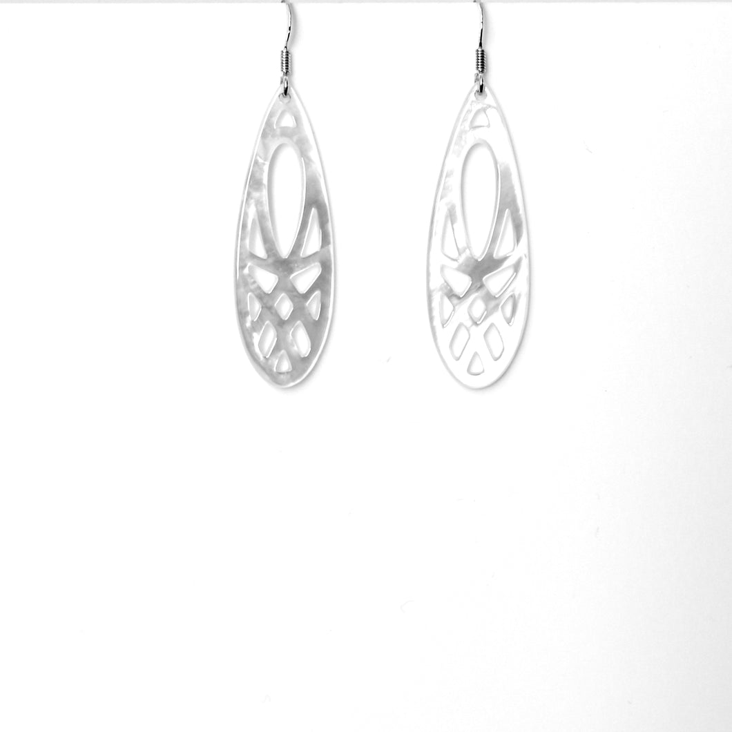 White Long Teardrop Mother of Pearl and Sterling Silver Earrings