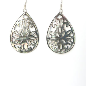 Grey Large Mother of Pearl and Sterling Silver Earrings