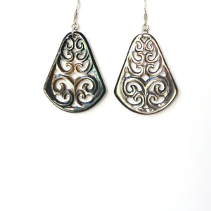 Grey Carved Mother of Pearl and Sterling Silver Earrings