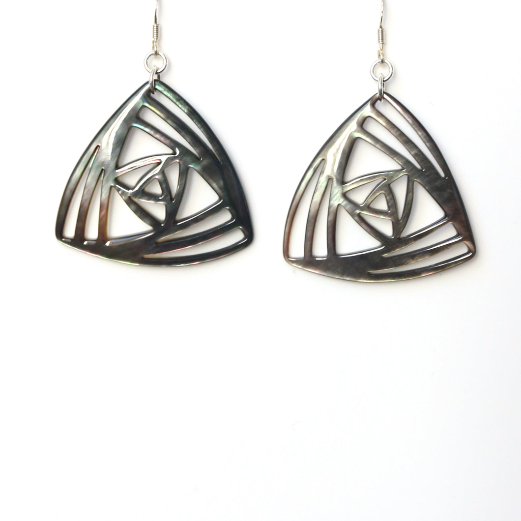 Grey Triangular Mother of Pearl and Sterling Silver Earrings