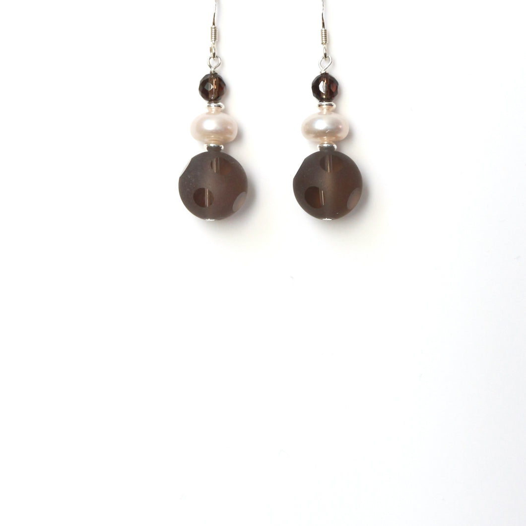 Brown Matt and Clear Smoky Quartz Pearl and Sterling Silver Earrings