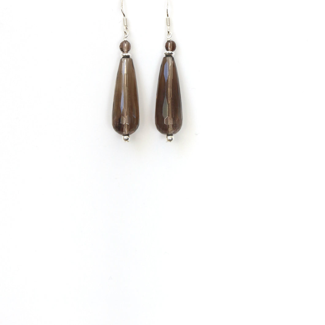Brown Facetted Long Teardrop Smoky Quartz and Sterling Silver Earrings
