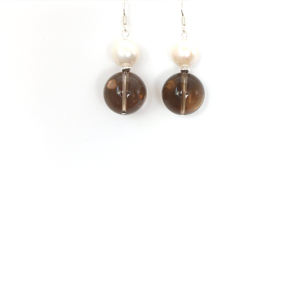 Brown Smoky Quartz Pearl and Sterling Silver Earrings