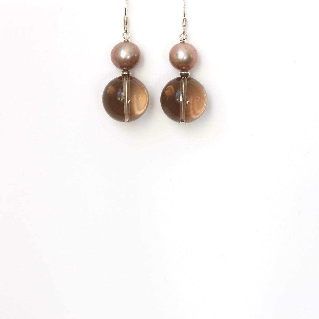 Brown Polished Smoky Quartz Champagne Pearl and Sterling Silver Earrings