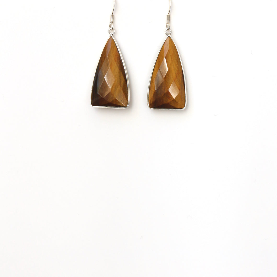 Brown Facetted Tigers Eye set In Sterling Silver Earrings