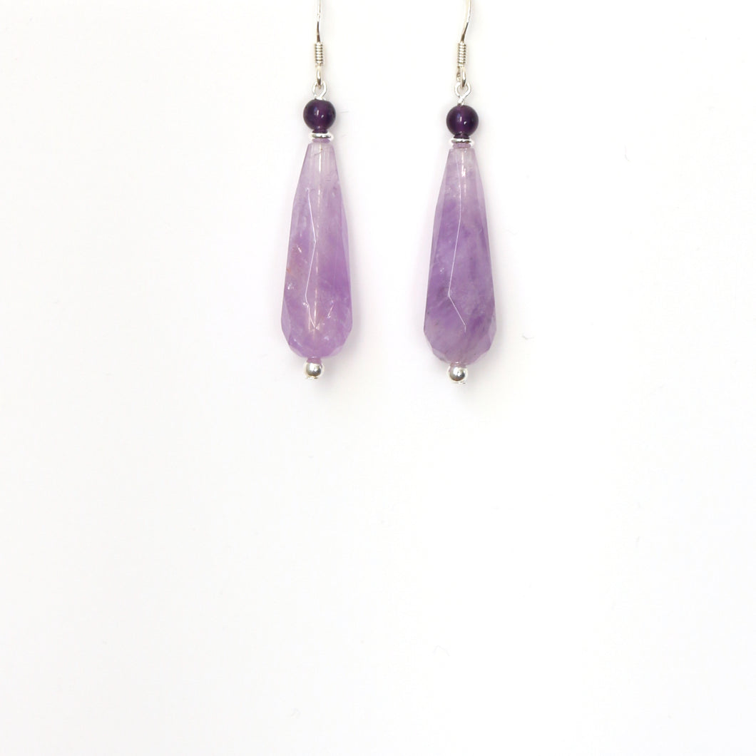 Purple Lavender and Dark Amethyst Teardrop and Sterling Silver Earrings