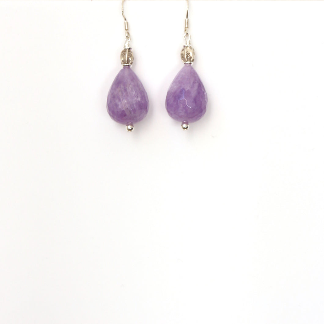 Purple Facetted Amethyst Teardrop with Sterling Silver Earrings