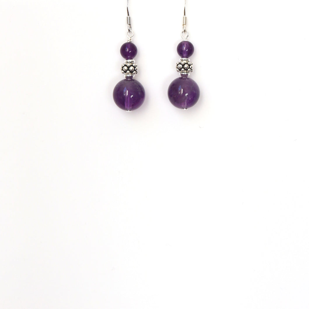 Purple Dark Amethyst with Decorative Sterling Silver Bead Earrings