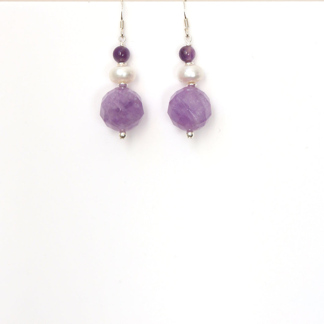 Purple Lavender and Dark Amethyst with Pearl and Sterling Silver Earrings