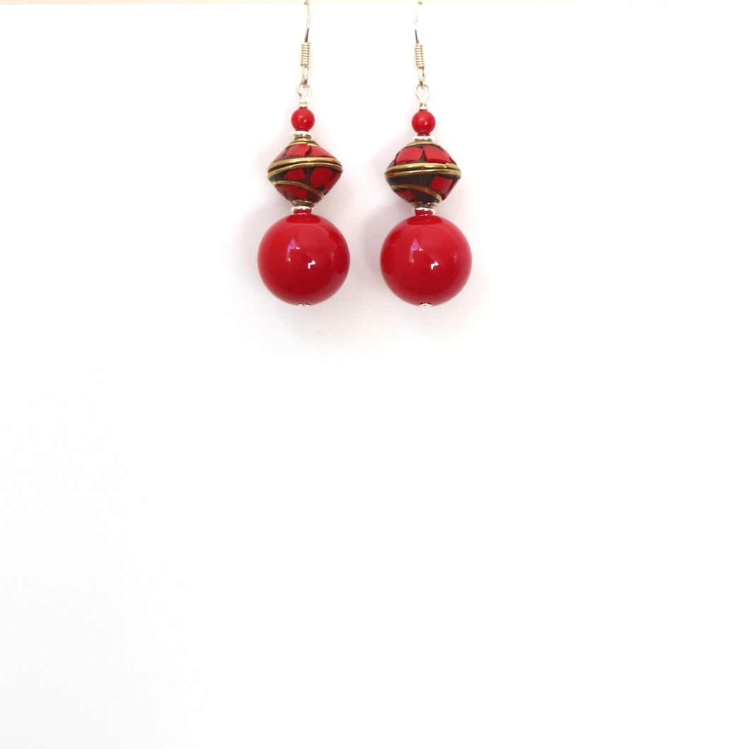 Red Coral Nepalese Bead and Sterling Silver Earrings
