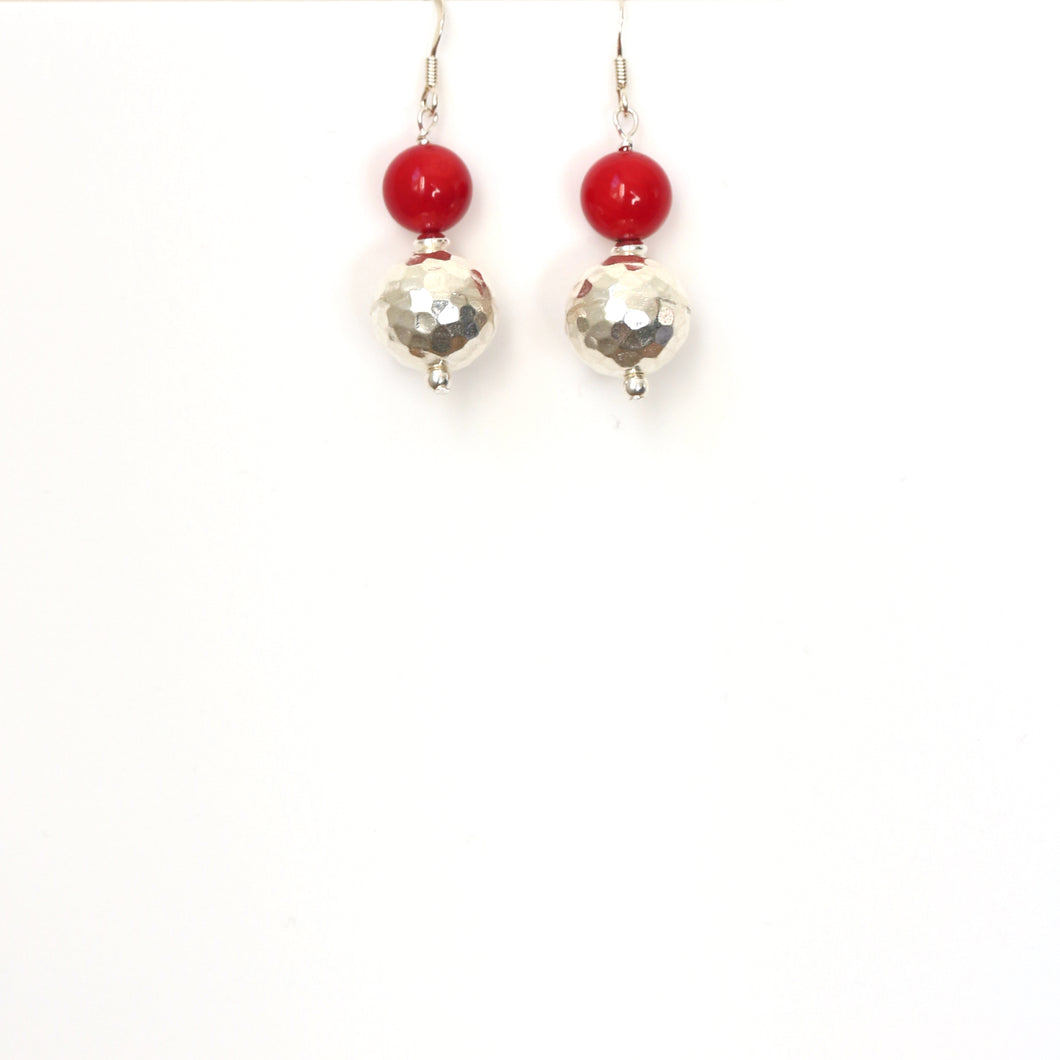 Red Coral and Beaten Sterling Silver Bead Earrings