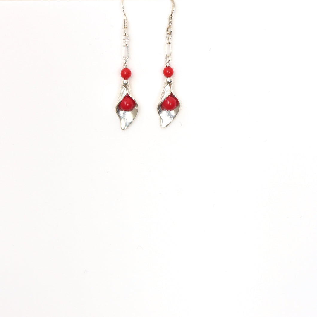 Red Coral with Sterling Silver Chain and Leaf