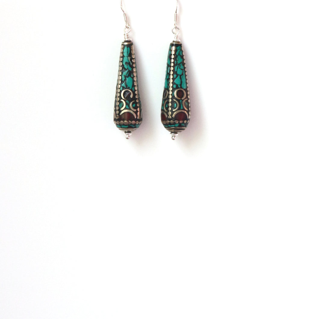 Nepalese Bead inlaid with Coral Turquoise and Silver Earrings